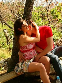 Great outdoor teen sex : Teen couple fuck on a picnic