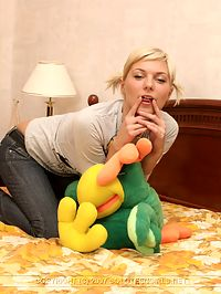 Hot Blonde Teen : Barely Legal Plays with Toys