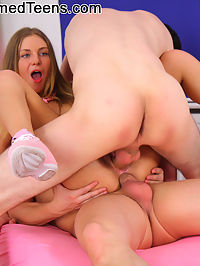 Big titty teen gets double teamed by two cocks : Rose is a tiny teen that can barely handle one cock, let alone two of them in each hole! But this little pervert wanted to try her first double teaming. She had one in each hand as she took turns sucking both of their dicks. Then the guys each had their way with her pussy as they took turns banging it! Finally Rose got her double penetration wish as each of the men took a hole and stretched them apart!
