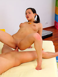 Teen slut craves hard cock in all of her holes : Sandra is now 18 years old and she is ready to become a little hussy! She is finally legal and she loves to get laid. This sexy brunette has some big tits and she looks hot with a huge cock in her mouth. Sandra swallowed him right down and then she got poked by his prick! This sweet honey had a pussy full of meat until he blew his load all over her face.