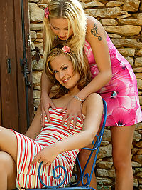 Two teen lesbians kissing and licking outdoors : These two lovely teens are real life lovers! We introduced them on another shoot we did with them and they moved in together and the rest is history! So they had no qualms about spreading outdoors on the patio and licking their 19 year old pussies! Since they are so close, they know exactly what to do to make the other girl cum hard!