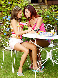 Girlgirl action with kissing and licking pussy : What do you get when you cross a hot redhead and a hot brunette? Frances and Lou! These two extremely sexy teens are always experimenting with their sexuality. They both love men but they love women too! They were both very excited to pose together and play around like lesbians in heat!