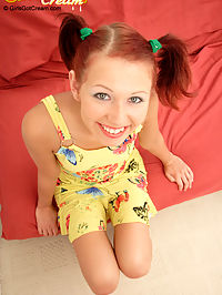 Cute redhead in pigtails receives a vaginal creampie : Shes a naughty redhead! This sweet teen is so full of energy, we thought she was going to snap that cock right off! But she didnt, instead she got it shoved in her teeny pink pussy! She really moaned and groaned as she got her butt pounded by that older experienced cock! She not only took it right up the twat like a little trooper but she also took a huge load deep within her pussy that came oozing out later!