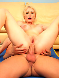 Blonde slobbers on the big dick that was in her ass : If you think little blonde Becca looks like a cheap little nympho slut, youd be right! This dirty blonde loves to suck dick like a vacuum! She swallowed him down until she was choking on his nuts and then he rammed his cock right up her tight little asshole. After he left her ass gaping, she then took it back into her mouth to finish sucking him off!
