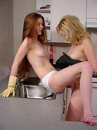 Lesbian kitchen action