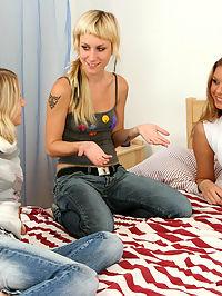 Three girlfriends having a birthday party