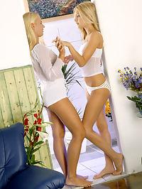 Sweet blonde Marci gets stuck into lesbo fun