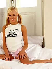 Hanna - Both Holes : Delicate blonde cutie strips and plays with bendy dildo