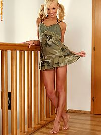 Hanna - Bannister Ride : Flirty blonde teen seductively strips and sits on handrail