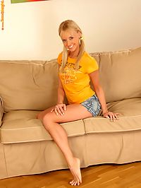 Hanna - Silver Sensation : Flexible blonde spreads wide and dildos bald twat on couch