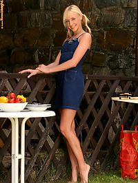 Hanna - Sexy Barbecue : Flirty blonde slowly strips and dildos slick twat in garden