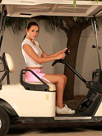 Devin - Golf Temptress : Enticing teen strips and spreads her pussy in golf cart