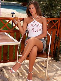 Cherie - Tasty Juices : Sizzling brunette strips and spreads her pink twat poolside