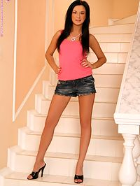 Daina - Pleasured Stunner : Bewitching hottie strips and dildos smooth pussy on stairs