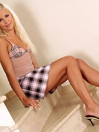 Lila - Plaid Sensation : Angelic teen spreads and fondles her sweet pussy on stairs