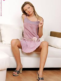 Rita - Lavender Girl : Lovely blonde teen nudes spreads and receives deep fisting