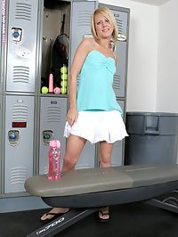 Sophia - Tennis Ace : Sporty blonde teen dildos her bald pussy in locker room