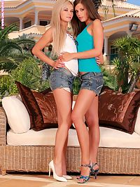 Daina and Caprice - Poolside Anilingus : Sublime teens strip and finger shaved pussies by the pool