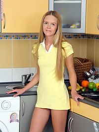 Traci - Cute Canary : Innocent teen cutie undresses and fucks banana in kitchen