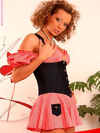 Vanesa - Stockinged Temptress : Frizzy haired cutie seductively strips and bangs glass dildo