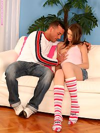 Jenni - Facialed Nymph : Innocent teen cutie sucks off and fucks large cock on couch