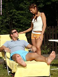 Sheridan - Backyard Surprise : Sunbathing stud bangs horny brunette cutie in the garden