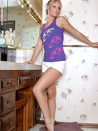 Kaley - Bathroom Beauty : Beautiful blonde invitingly strips and poses in bathroom