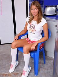 Natalia - Fruit Fixation : Beautiful teen nudes and plunges pear into shaved snatch