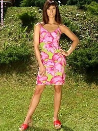 Sheridan - Alfresco Erotica : Alluring brunette sheds summer dress and dildos in garden