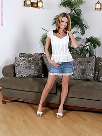 Paris - Denim Desires : Flirty teen hottie teasingly nudes and spreads on couch
