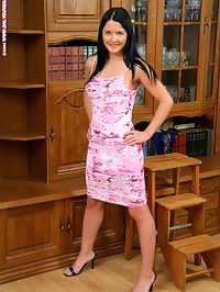 Raina - Shy Spreader : Raven haired teen flirtatiously strips and rubs in library