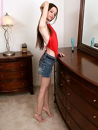 Hope - Undressing Table : Lithe brunette teen strips and dildos pink pussy on dresser