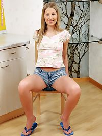 Adelina - Pert And Puffy : Beautiful cutie strips spreads and fingers twat in kitchen