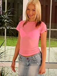 Alison - Natural Cutie : Enticing blonde hottie nudes and deeply fucks pink dildo