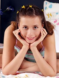 Juliana - Blue Buddy : Cute brunette teen undresses and bangs ribbed dildo in bed