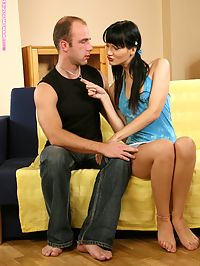 Bella - Sofa Penetration : Pigtailed cutie fucks and sucks hard cock and gets facial