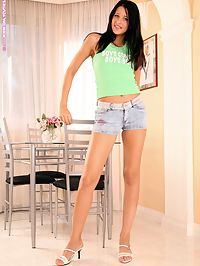 Alina - Leggy Beauty : Long legged honey strips spreads and toys wet tight snatch