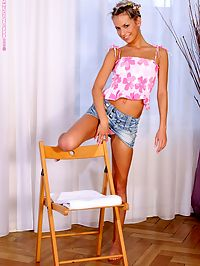 Kamille - Pure Pink : Blonde charmer seductively strips and spreads her pink twat