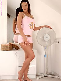 Gemma - Pouting And Posing : Seductive brunette honey strips and dildos shaved pink quim