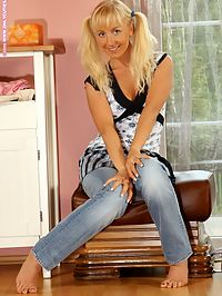 Johanna - Denim And Dildos : Blonde teen cutie undresses and dildos shaved pink slit