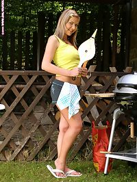Andrea - Barbecue Beauty : Adorable cutie nudes and dildos pink bald snatch outdoors