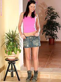 Dana - Trekking Boots : Adorable brunette erotically nudes and spreads her bald twat