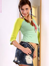 Juliana - Sweet Reflections : Pigtailed cutie sensually nudes and poses in front of mirror