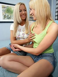 Dorothee and Larissa : Angelic blonde teens fist lick and dildo bald pussies in bed