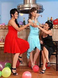 Hailee Kay and Marion : Three hot party girls undress lick and rub juicy pussies