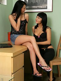 Alexcia and Adina : Raven haired cuties undress and strapon fuck in the office