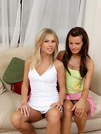 Katerina and Klara : Gorgeous teen lesbians undress and strapon fuck sweet twats