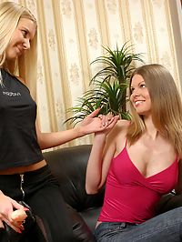 Yvette and Karolina : Luscious teens lap and strapon fuck tight pussies indoors