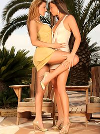 Klaudia and Natali : Sizzling hotties play with whipped cream and lick outside