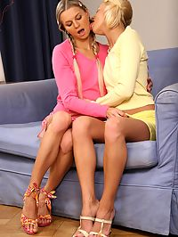 Mia and Iris : Blonde teen hotties strapon fuck tight pussies and butts